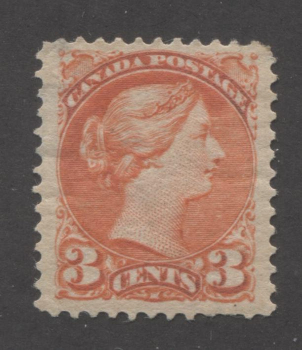 Canada #41 3c Vermilion Queen Victoria, 1870-1897 Small Queen Issue, Good Mint OG Example of the Second Ottawa Printing on Newsprint-Like Paper, Perf. 12 x 12.25 Brixton Chrome