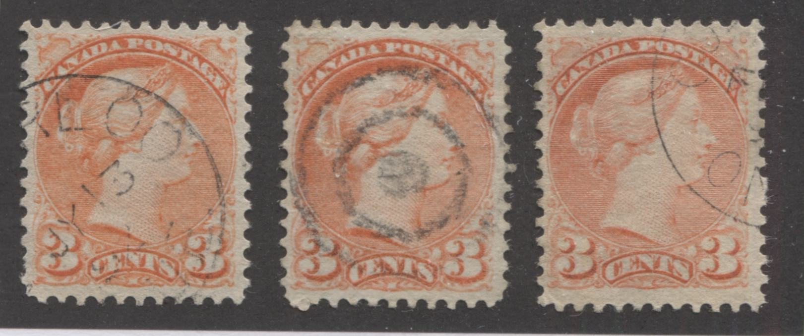 Canada #41 3c Vermilion Red Queen Victoria, 1870-1897 Small Queen Issue, Three Very Fine Used Examples of the Second Ottawa Printing, Each a Slightly Different Shade Brixton Chrome