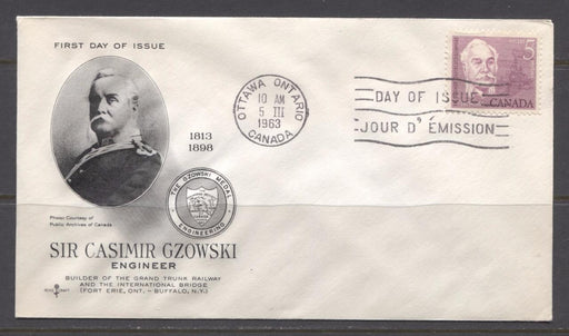Canada #410 (SG#535) 1963 5c Casimir Gzowski Issue Rose Craft First Day Cover XF-91 Brixton Chrome