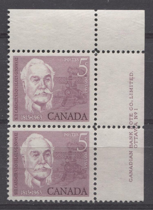 Canada #410 (SG#535) 5c Rose Lilac 1963 Sir Casimir Gzowski VF 75/80 NH Pair Brixton Chrome