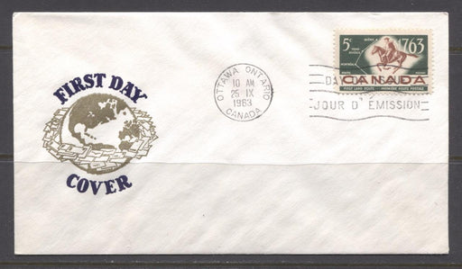 Canada #413 (SG#538) 1963 5c First Postal Service Globe Cachet First Day Cover XF-89 Brixton Chrome