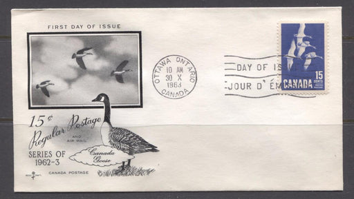Canada #415 (SG#539) 1964 15c Geese Cameo Issue Rose Craft First Day Cover XF-91 Brixton Chrome