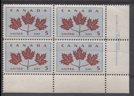 Canada #417 (SG#542) 5c Light Blue And Dark Carmine 1964 Maple Leaves Plate 1 LR VF 84 NH Brixton Chrome