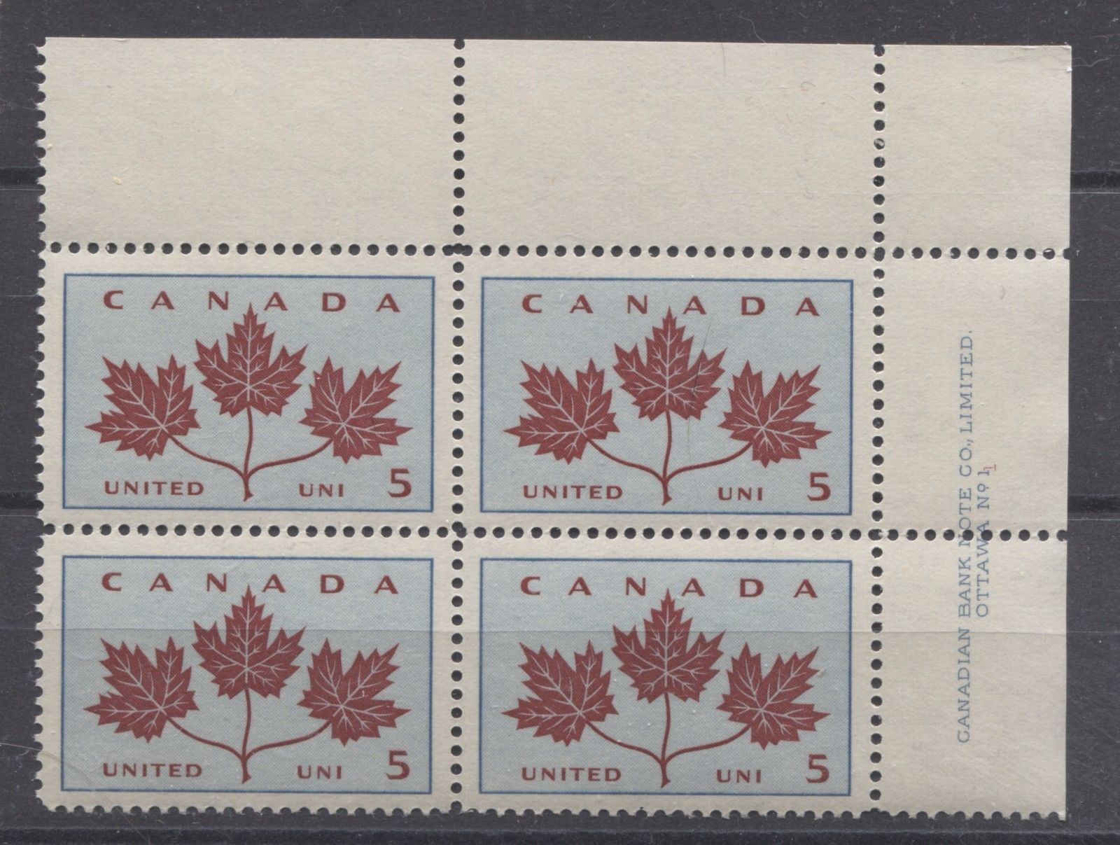 Canada #417 (SG#542) 5c Light Blue & Dark Carmine 1964 Maple Leaves Plate 1 UR VF 75/80 NH Brixton Chrome