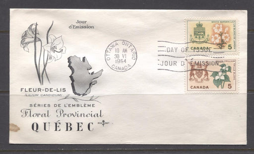 Canada #418-419 (SG#543-544) 1964 5c Provincial Emblems Issue Rose Craft First Day Cover VF-77 Brixton Chrome