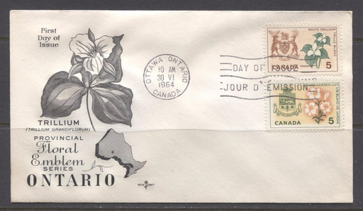 Canada #418-419 (SG#543-544) 1964 5c Provincial Emblems Issue Rose Craft First Day Cover XF-91 Brixton Chrome