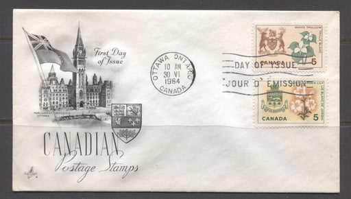 Canada #418-419 (SG#543-544) 5c 1964 Provincial Emblems Issue Art Craft First Day Cover XF-91 Brixton Chrome