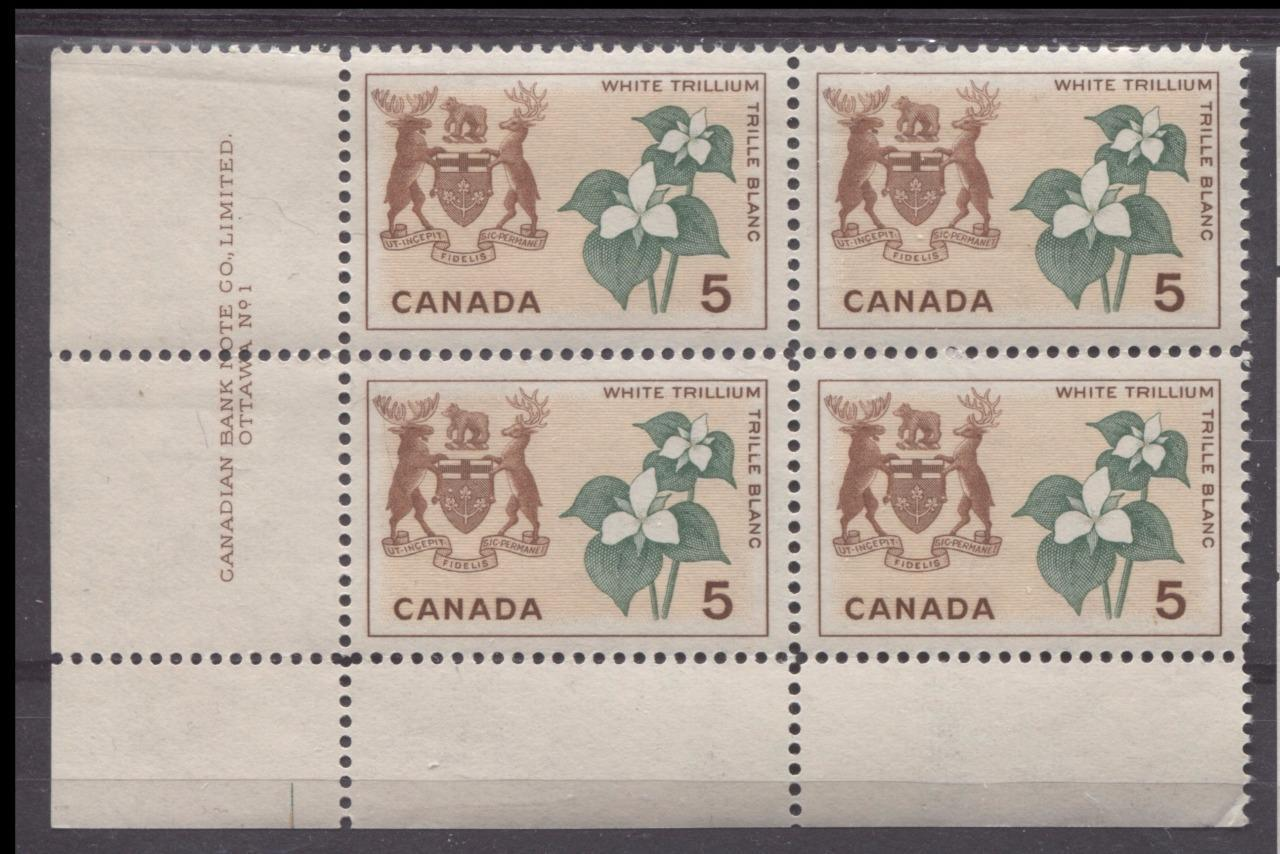 Canada #418 (SG#543) 5c Red Brown, Buff And Green Ontario 1964-1966 Provincial Emblems Issue Plate 1 LL VF 75/80 NH Brixton Chrome