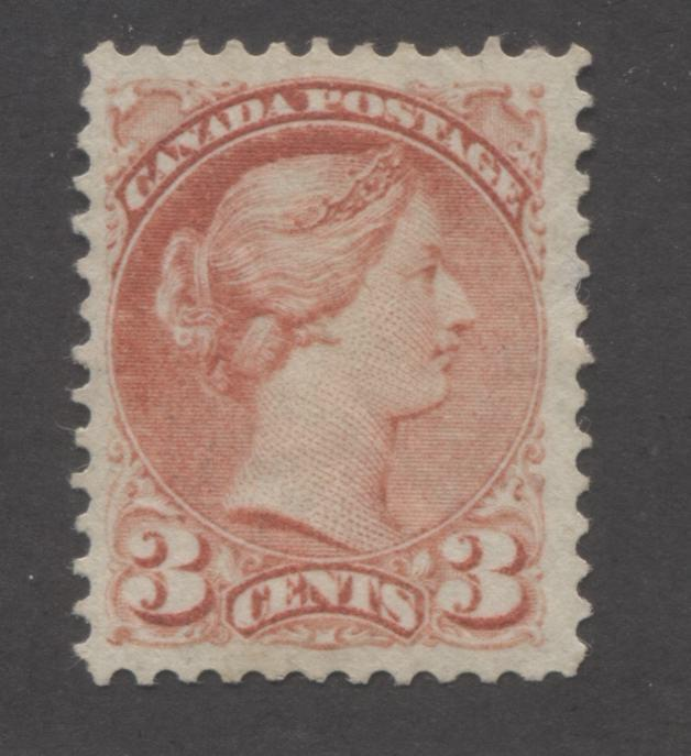Canada #41a 3c Rose Carmine Queen Victoria, 1870-1897 Small Queen Issue, A Very Fine Unused Single of the Montreal Gazette Printing From Autumn 1888 Brixton Chrome