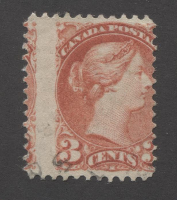 Canada #41i 3c Deep Rose Carmine Queen Victoria, 1870-1897 Small Queen Issue, A Very Fine Used Single of the Montreal Gazette Printing Showing a Dramatic Misperf Brixton Chrome