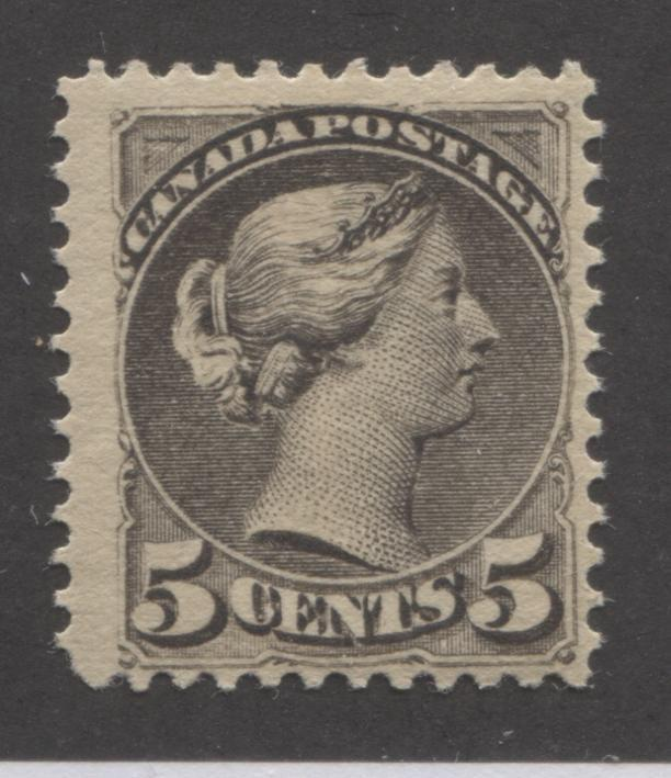 Canada #42 5c Deep Brownish Grey Queen Victoria, 1870-1897 Small Queen Issue, Fine Mint NH Example of the Second Ottawa Printing on Horizontal Wove, Perf. 12 x 12.15 Brixton Chrome