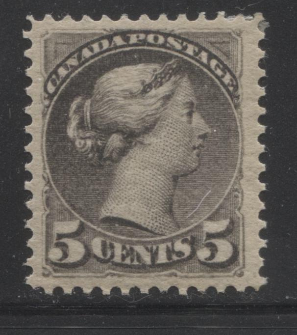 Canada #42 5c Deep Grey Queen Victoria, 1870-1897 Small Queen Issue, A Very Fine Mint LH Example of the Second Ottawa Printing on Newsprint-Like Wove, Perf. 12.1 x 12.25 Brixton Chrome