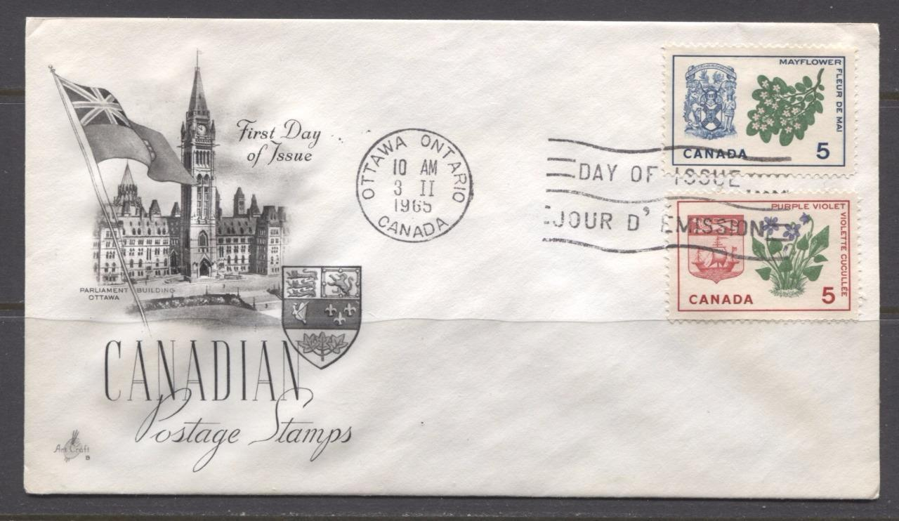 Canada #420-421i (SG#545-546) 5c New Brunswick and Nova Scotia 1964-1966  Provincial Emblems Issue Art Craft First Day Cover XF-91