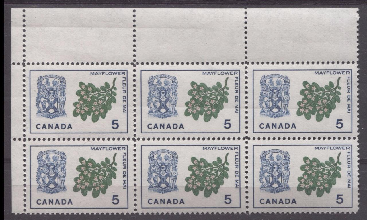Canada #420i (SG#546) 5c Blue, Pink And Green Nova Scotia 1964-1966 Provincial Emblems Issue LF-fl Paper VF 75/80 NH Brixton Chrome