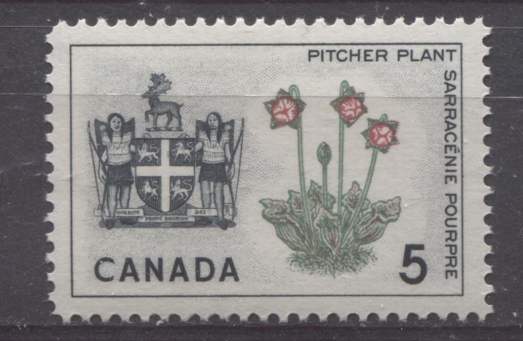 Canada #427 (SG#552) 5c Black, Green And Carmine Newfoundland 1964-1966 Provincial Emblems Issue VF 75/80 NH NF Brixton Chrome