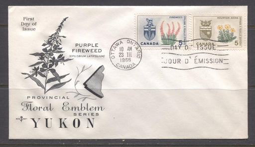 Canada #428-429 1966 5c Provincial Emblems Issue Combo First Day Cover - XF-91 Brixton Chrome