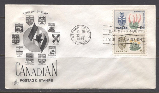 Canada #428-429 (SG#553-554) 5c Northwest Territories and Yukon 1964-1966 Provincial Emblems Art Craft First Day Cover XF-91 Brixton Chrome