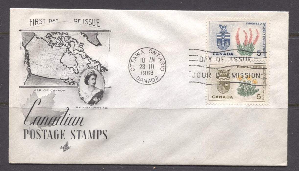 Canada #428-429 (SG#553-554) 5c Northwest Territories and Yukon 1964-1966 Provincial Emblems Issue Art Craft First Day Cover XF-91 Brixton Chrome