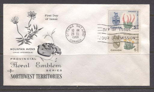 Canada #428-429 (SG#553-554) 5c Northwest Territories and Yukon 1964-1966 Provincial Emblems Issue Combination First Day Cover XF-91 Brixton Chrome