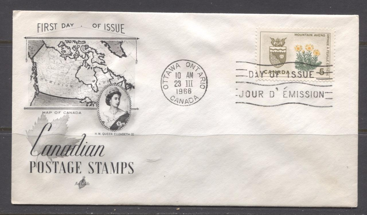 Canada #429 (SG#553) 5c Northwest Territories 1964-1966 Provincial Emblems Issue Art Craft First Day Cover XF-91 Brixton Chrome