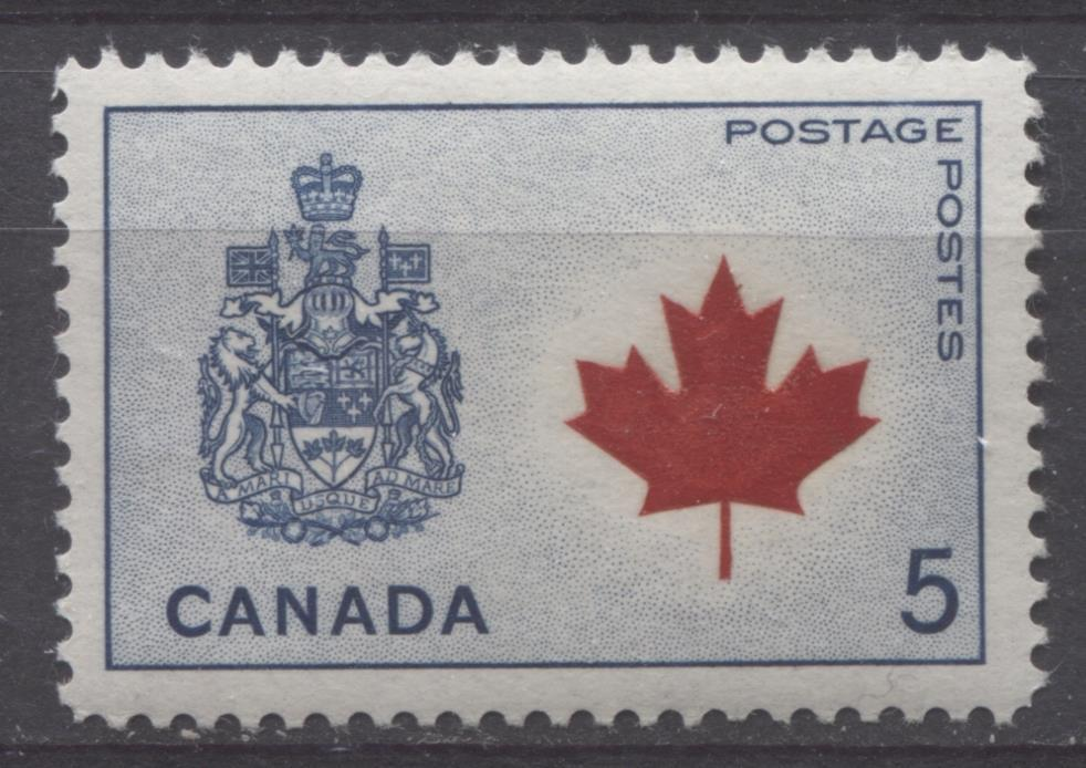 Canada #429A (SG#555) 5c Dark Blue And Deep Red Canadian Arms 1964-1966 Provincial Emblems Issue VF 75/80 NH Brixton Chrome