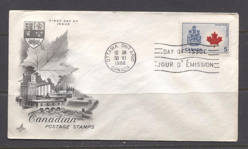Canada #429Aii (SG#555) 5c Canadian Arms 1964-1966 Provincial Emblems Issue Art Craft First Day Cover XF-86 Brixton Chrome