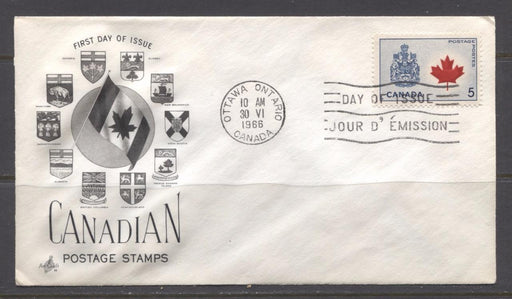 Canada #429Aii (SG#555) 5c Canadian Arms 1964-1966 Provincial Emblems Issue Art Craft First Day Cover XF-91 Brixton Chrome