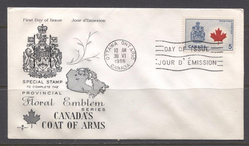 Canada #429Aii (SG#555) 5c Canadian Arms 1964-1966 Provincial Emblems Issue Rose Craft First Day Cover XF-91 Brixton Chrome