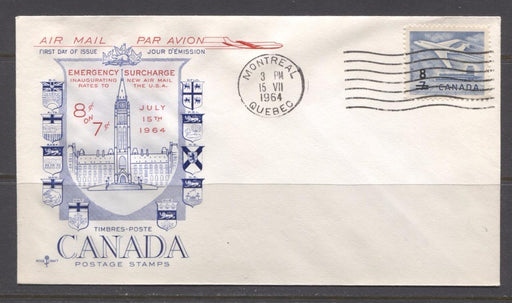 Canada #430 (SG#556) 1964 8c on 7c Cameo Issue Rose Craft First Day Cover XF-91 Brixton Chrome