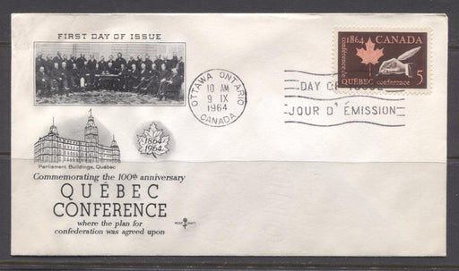 Canada #432 (SG#558) 1964 5c Quebec Conference Issue Rose Craft First Day Cover XF-91 Brixton Chrome