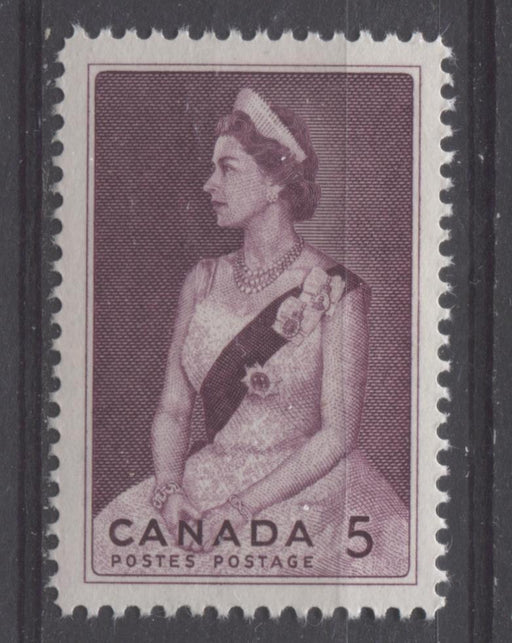 Canada #433 (SG#559) 5c Claret Queen Elizabeth II 1964 Royal Visit Issue VF 75/80 NH Brixton Chrome