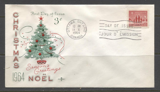Canada #434 (SG#560) 3c Bright Red 1964 Christmas Issue Rose Craft First Day Cover XF-91 Brixton Chrome