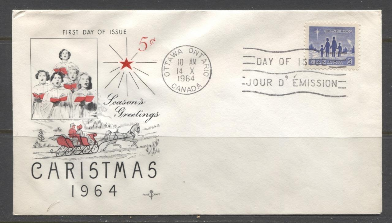 Canada #435 (SG#561) 1964 5c Blue Christmas Issue Rose Craft First Day Cover XF-86 Brixton Chrome