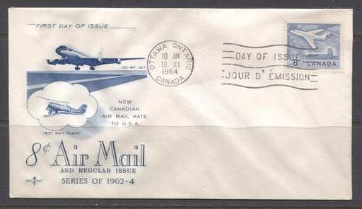 Canada #436 (SG#540a) 1964 8c Jet Plane 1965 Cameo Issue Rose Craft First Day Cover XF-91 Brixton Chrome