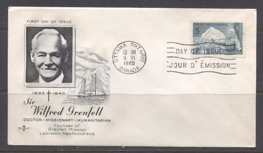 Canada #438 (SG#563) 1965 5c Wilfred Grenfell Rose Craft FDC Dull Paper XF-87 Brixton Chrome