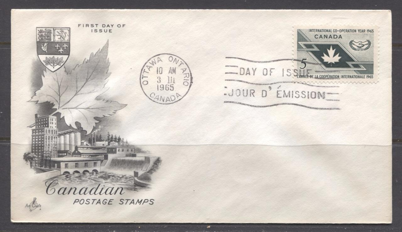Canada #438 (SG#563) 1965 Sir Wilfred Grenfell Issue Art Craft First Day Cover VF-79 Brixton Chrome