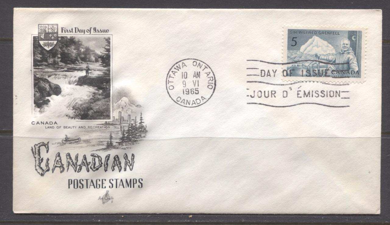 Canada #438 (SG#563) 1965 Sir Wilfred Grenfell Issue Art Craft First Day Cover XF-89 Brixton Chrome