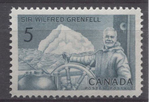 Canada #438 (SG#563) 5c Prussian Blue 1965 Wilfred Grenfell Issue DF/LF-fl Paper VF 84 NH Brixton Chrome