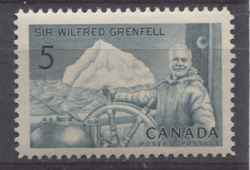 Canada #438 (SG#563) 5c Prussian Blue 1965 Wilfred Grenfell Issue DF/LF-fl, S Paper VF 75/80 NH Brixton Chrome