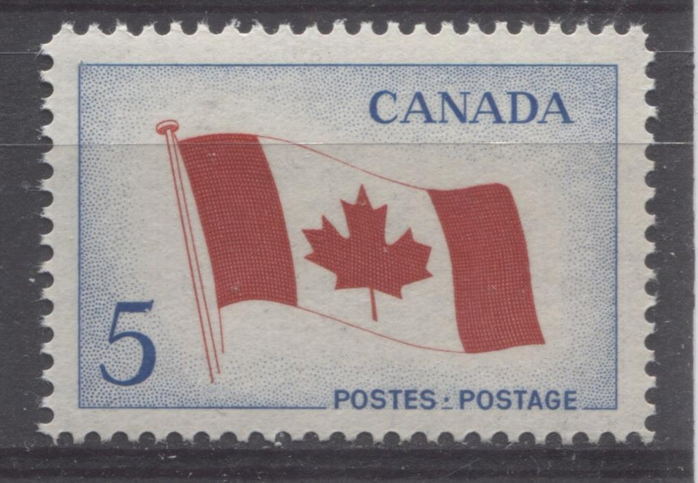 Canada #439 (SG#564) 5c Bright Blue And Red 1965 Canadian Flag Issue NF/LF-fl, S Paper VF 75/80 NH Brixton Chrome