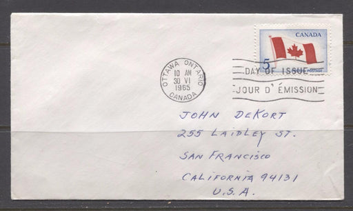 Canada #439i (SG#564) 1965 5c Canadian Flag Issue Plain Addressed First Day Cover XF-92 Brixton Chrome