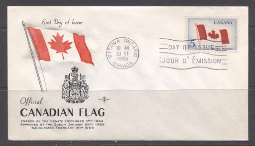 Canada #439i (SG#564) 1965 5c Canadian Flag Issue Rose Craft First Day Cover XF-85 Brixton Chrome
