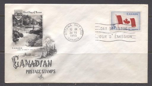 Canada #439i (SG#564) 1965 Canadian Flag Issue Art Craft First Day Cover XF-91 Brixton Chrome