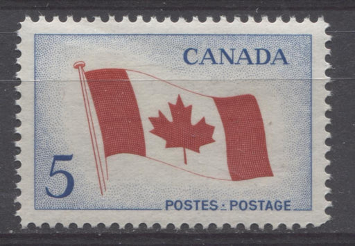 Canada #439i (SG#564) 5c Bright Blue And Red 1965 Canadian Flag Issue DF/LF-fl, S Paper VF 75/80 NH Brixton Chrome