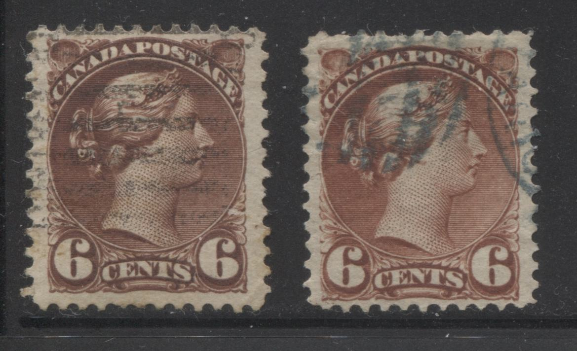 Canada #43a, 43i 6c Chocolate and Chestnut Queen Victoria, 1870-1897 Small Queen Issue, Fine Used Examples of the Second Ottawa Printings on Soft Horizontal Wove, Perf. 12 Brixton Chrome
