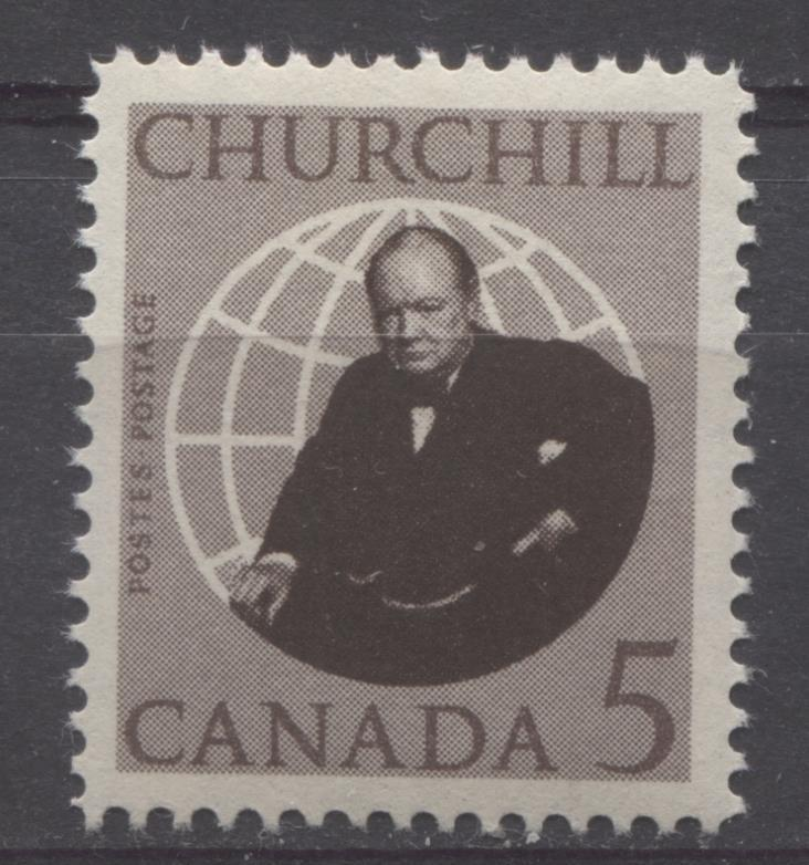 Canada #440 (SG#565) 5c Brown 1965 Churchill Issue DF Paper VF 75/80 NH Brixton Chrome