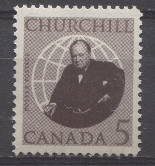 "Canada #440 (SG#565) 5c Brown 1965 Churchill Issue Nick In ""R"", DF Paper VF 75/80 NH Brixton Chrome"
