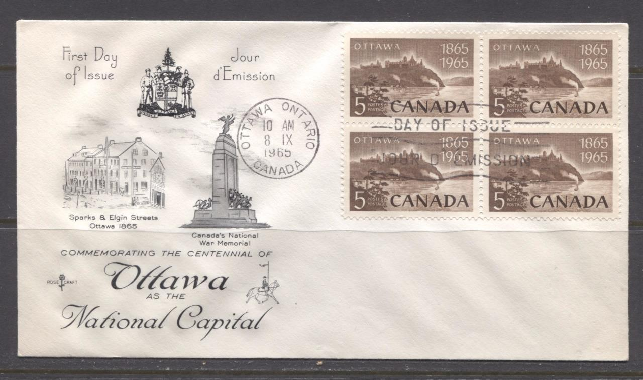 Canada #442 (SG#567) 1965 5c Ottawa Centenary Issue Rose Craft First Day Cover XF-91 Brixton Chrome