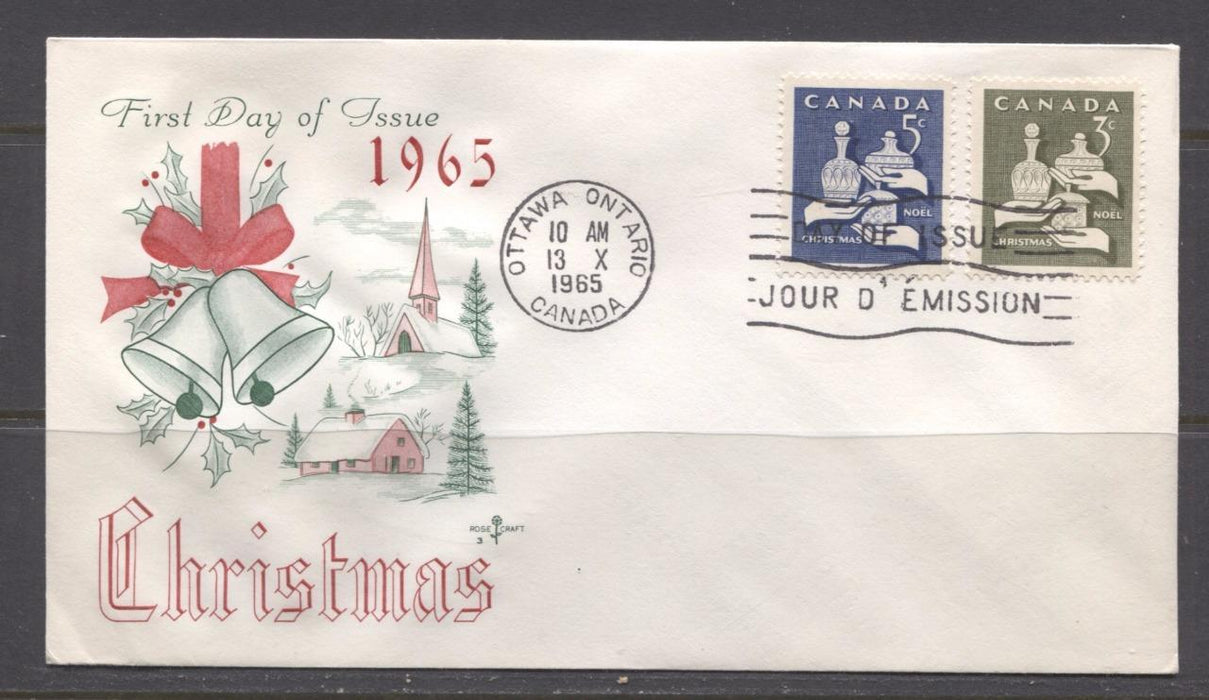 Canada #443-444 (SG#568-569) 3c & 5c 1965 Christmas Issue Rose Craft First Day Cover XF-91 Brixton Chrome