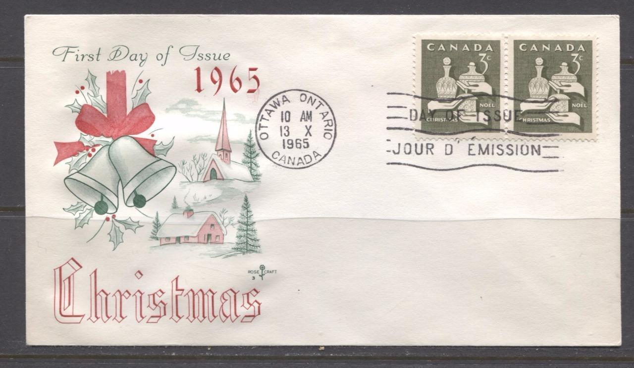 Canada #443 (SG#568) 3c Olive 1965 Christmas Issue Rose Craft First Day Cover XF-91 Brixton Chrome